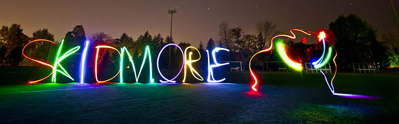 'Skidmore' painted in light