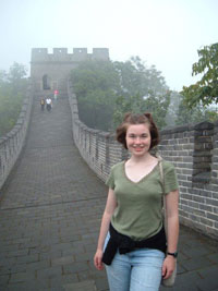Anastasia Thomas '08 China (Beijing) - standing on the Great Wall of China. Fall 2006