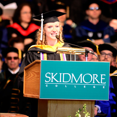 Madison Plummer speaks at Skidmore College 2017 Commencement