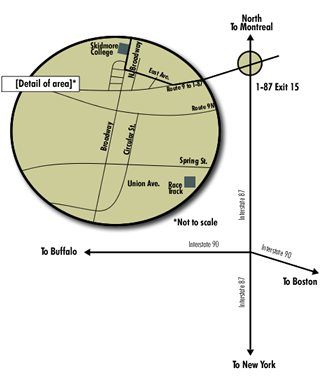 Map to the Skidmore campus