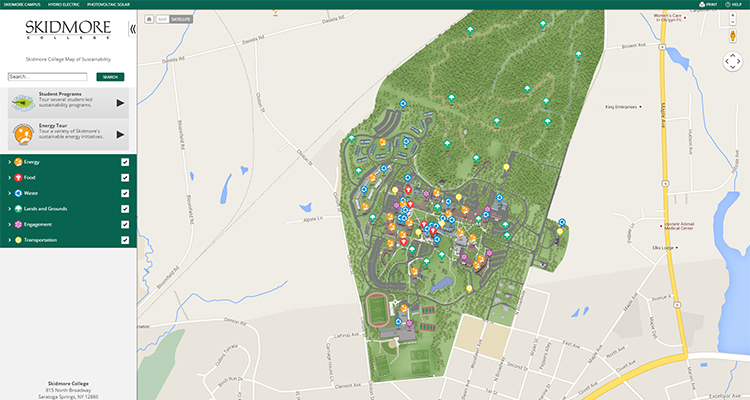 Map of Sustainable Skidmore