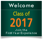 Welcome Class of 2017! Click this graphic to join the First-Year Experience.