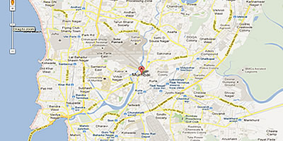 Google map, showing the location of Mumbai