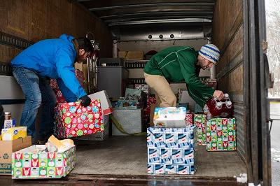 Students deliver donations to the Salvation Army in downtown Saratoga Springs.