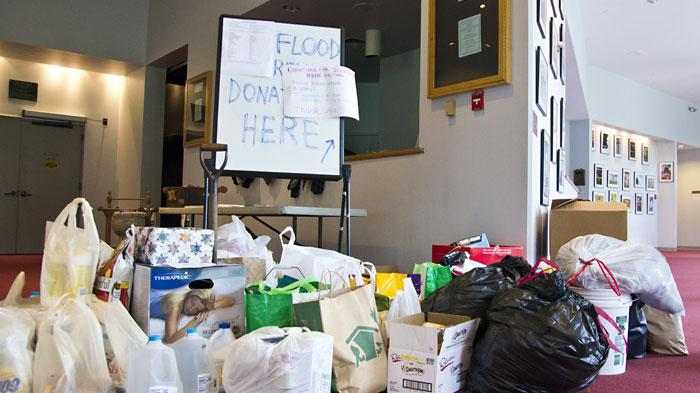 Donation drive for flood victims. Photo by Sam Brook '12
