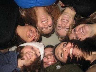 We put our heads together in Reeves C. ? with Jacquelyn Paige Liebig, Megan Lauren, Marlee Colligan, Sarah D. Groves, Kellye Caufield and Alexandra Besso. Submitted by Meredith Muzik '09.