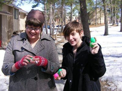 Amanda Izenson and Emma Greene '09 during an Easter egg hunt we had in Scribner in 2008. Submitted by Elizabeth DeBold '09.