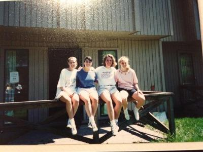 The day after Commencement 1994...with Kirstin O'Rielly Drabek, Holly Stockdale, Laura Finkelson and Marianne Cook Ratcliffe...in front of Ross C!