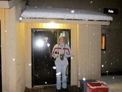 Kerry Elizabeth Shea Kearney '12 on her way to build a snowman outside of Fain C.