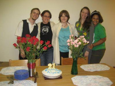 Celebrating my 21st birthday in Dogwood C, 2009! With roommates Kyle Bogaert '10, Michelle Reyes, Mairead Carr, and Karen Granados. Submitted by Alysia Hildebrandt  '10.