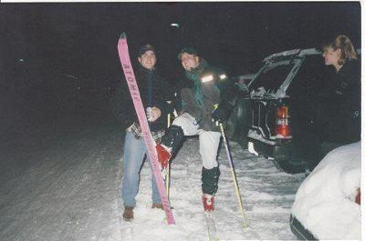 Todd Lady, Class of '97 takes a break from studying at Birch C on a snowy evening during the Winter '95 to ski the hills of Scribner. Submitted by Rebecca Isreal Lady '98.
