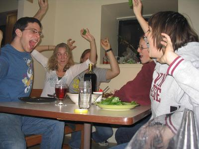 Ross A sitting down to a family dinner in 2008 with Jessica Reynolds, Chelsie Cushman, Don Webster, Kate Zappia, and Sabrina Kliman. Submitted by Sabrina Kliman '09.