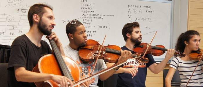 Musicians rehearse in the Decoda Summer Chamber Music Institute.