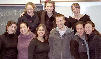 Women's Studies Senior Seminar, Fall 2003 Front row, from left: Whitney Vitale, Kimiko Nakamura, Ivonne Salazar, Ben Scheim, Noa Glick, and Nicole Zuckerman. Back row, from left: Laura Johnson, Vicky Peters, and Erika Layfield