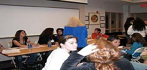 Students chat following the 'Living the Liberal Arts' panel discussion (October 2005)