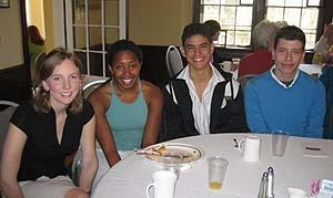 Annual Women's Studies Spring Brunch--April 30, 2006 (left to right): Women's Studies students Sarah Kunz '06, Jessyca Dudley '06, Julio Toledo '06 and Fred Braunstein '08. (photo courtesy of C. Golden)