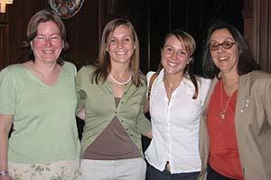 Annual Women's Studies brunch, April 30, 2006 (left to right): Professor Kate Berheide and her daughter, Sarah Berheide '06, Women's Studies major; Women's Studies alum Camila Lertora '04, with her mother, Professor Paty Rubio. (photo courtesy of C. Golden)
