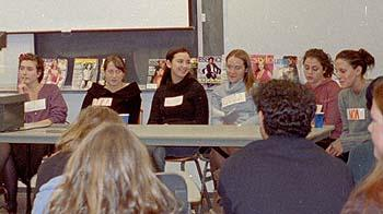Race and Gender discussion, December 2003 Seated behind table, from left: Vicky Peters, Erika Layfield, Nicole Zuckerman, Camila Lertora, Rachel Freed, and Noa Glick.