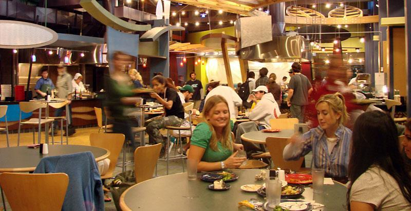 Skidmore students stop for lunch in the Dining Hall.