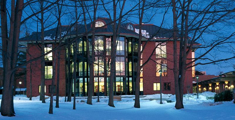 The Lucy Scribner Library on a winter's night. 