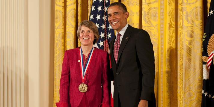 Sallie &#34;Penny&#34; Chisholm '69 receiving the National Medal of Science from President Barack Obama for her revolutionary work in oceanography on February 1, 2013.