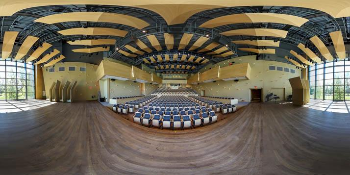 Helen Filene Ladd Concert Hall at the Arthur Zankel Music Center in image captured for new virtual campus tour by photographer Calder Wilson '11.