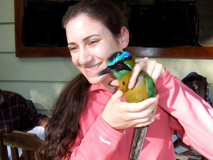 Student Marissa Rosenbloom prepares to release a Blue-crowned Motmot as Skidmore's Tropical Field Ecology class studies neotropical migrant birds in Monteverde, Costa Rica.