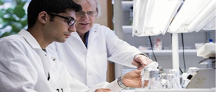 Professor Domozych in Research Lab with Berke Tinaz '16.