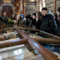 Students at Monastery Library.