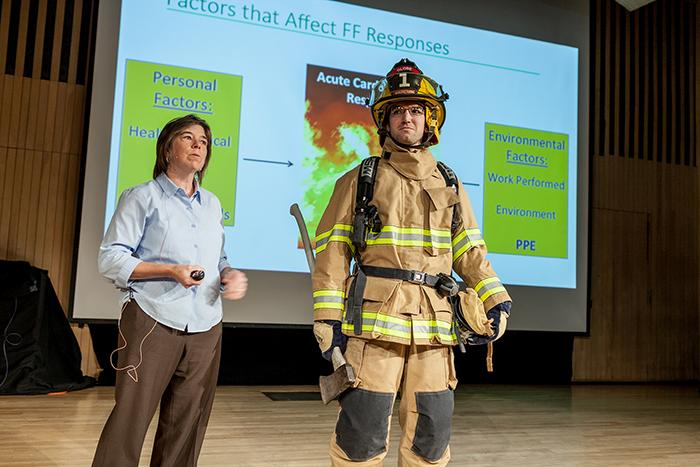 Denise%20Smith%2C%20professor%20of%20Health%20and%20Exercise%20Sciences%2C%20discussed%20how%20her%20research%20on%20the%20physiology%20of%20firefighters%20is%20being%20applied%20in%20the%20design%20of%20firefighting%20gear.