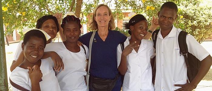 Mindy Weschler, BSN, CEN 1975. Peace Corps/SEED Global Health Volunteer Nurse Educator, Mzuzu University in Malawi.