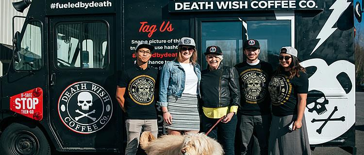 The Death Wish Cofffee Team: Vu. Rob, and Caite with Maya, Colleen and Doodles, Spring 2017