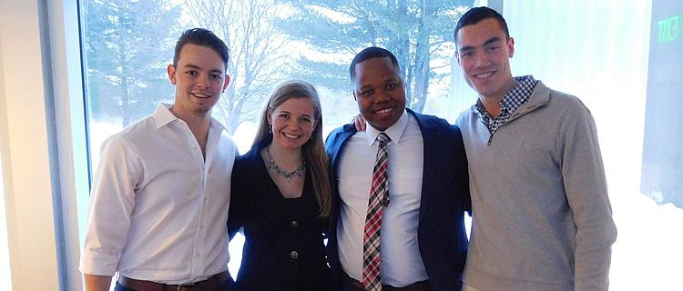 Fall 2016 Northshire Bookstore SSCP Team. Left to right Alessandro Lannes, Hadley Haselmann, Themba Shongwe and Jack Sloan.