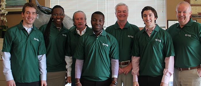 Tim Colvin '15, Angela Botiba '15, Barry Potoker, Chief Marketing Officer, Kojo Amarteyfio '15, Stephen E. Towne, Chief Operating Officer, Dan Morelli '14 and Tom Roohan, Owner.