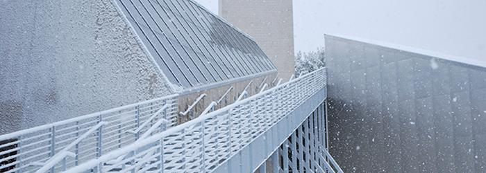 The Tang Museum stairway in the winter.