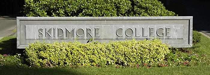 The entrance to Skidmore is marked with a classic chiseled-look sign.