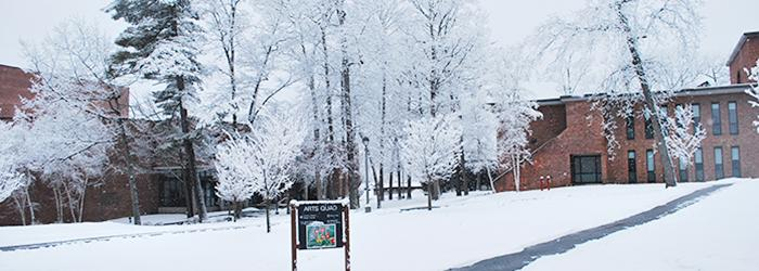 The Arts Quad in winter.