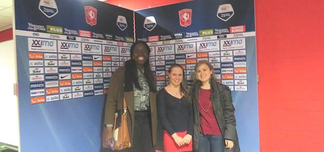 Taiwo Eshinlokun, Corinna Goodman, and Roz Rothwell at the FC Twente stadium.