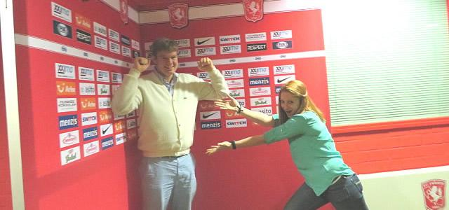 Jimmy Stanitz and Anya Hein at FC Twente stadium.