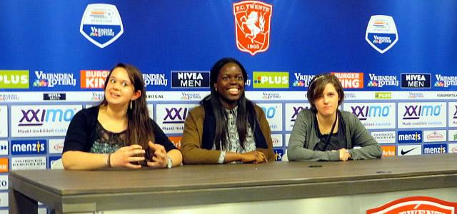 Meghan Schachter, Taiwo Eshinlokun, and Dorothy Parsons critiquing the Skidmore EUROSIM performance at FC Twente stadium.