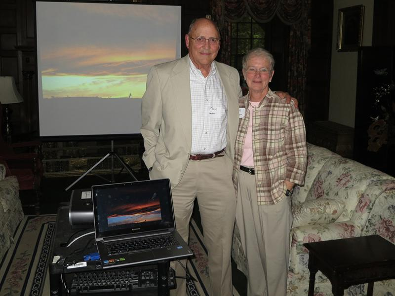 """Wine, Cheese and Chat"" at the Surrey, May 22, 2014.  Presenters: Sue Bender; Ann Henderson and Tom Nelson."