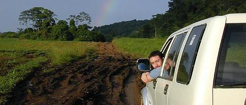Brian Frappier driving to a cave site in Belize