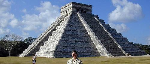 Amy Frappier in front of a Mayan Pyramid in Belize