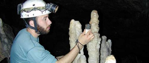 Stalagmite used for paleoclimate reconstruction