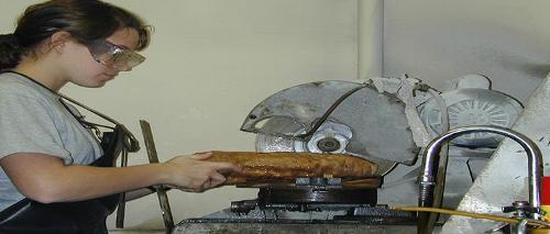 Cutting a stalagmite