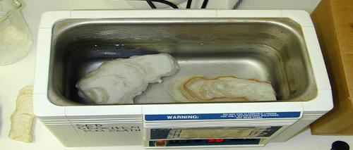 Stalagmites are thoroughly cleaned in a sonicator
