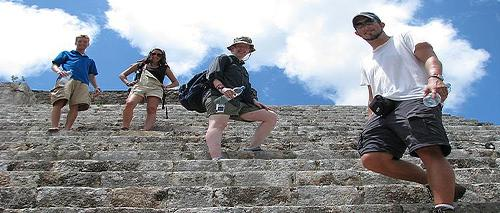 Climbing a Mayan temple, Mayapan, Yucatan