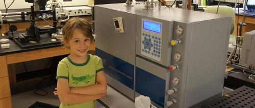 Luc Frappier with the elemental analyzer