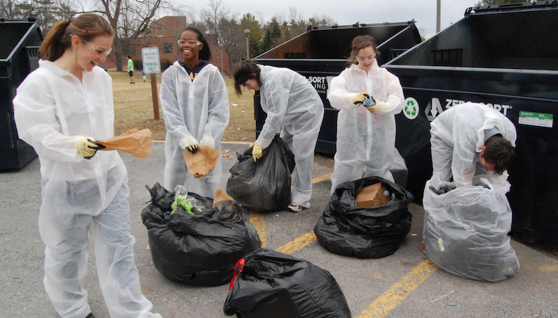 Students get involved in the annual campus waste audit.