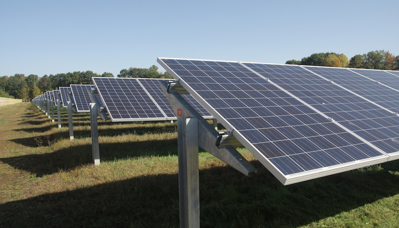 Skidmore's solar array supplies 12% of campus electricity needs.